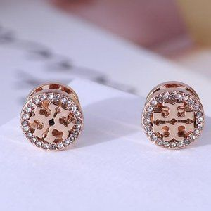 Tory Burch Earrings Rose Gold Pave Logo New